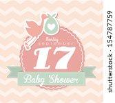 Baby Shower Design Over Pink...