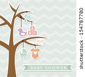 baby shower design over blue... | Shutterstock .eps vector #154787780