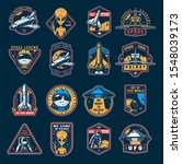 vintage space colorful emblems... | Shutterstock . vector #1548039173