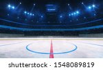Ice hockey rink and illuminated indoor arena with fans, face off circle view, professional ice hockey sport 3D render