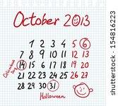 Calendar 2013 October In Sketc...