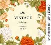 vintage card with flowers.... | Shutterstock .eps vector #154816850