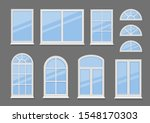 windows with white frames set... | Shutterstock .eps vector #1548170303