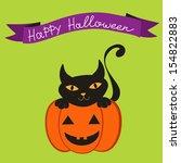 happy halloween card with cat... | Shutterstock .eps vector #154822883