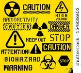 set of warning hazard symbols... | Shutterstock .eps vector #154838603
