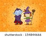 halloween card with cartoon... | Shutterstock .eps vector #154844666