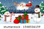 scene with santa and snowman on ... | Shutterstock .eps vector #1548536159