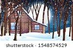 scene with wooden hut in snow...   Shutterstock .eps vector #1548574529