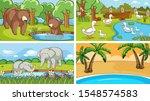 background scenes of animals in ...   Shutterstock .eps vector #1548574583