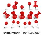 realistic red push pins. attach ... | Shutterstock .eps vector #1548609509