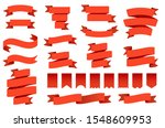 red ribbon banners and flags.... | Shutterstock .eps vector #1548609953