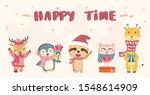 happy cute wild animals in... | Shutterstock .eps vector #1548614909