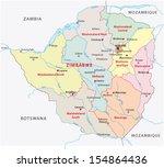 zimbabwe administrative map | Shutterstock .eps vector #154864436