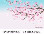 cherry blossom and flying... | Shutterstock .eps vector #1548653423