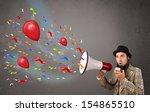 young guy having fun  shouting... | Shutterstock . vector #154865510