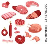fresh meat and sausage  salami... | Shutterstock .eps vector #1548701030