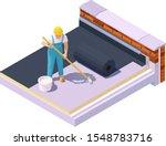 vector isometric worker at flat ... | Shutterstock .eps vector #1548783716