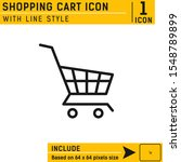 shopping cart icon with line...