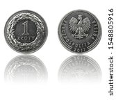 "Small photo of Polish currency 1 zl coin (PLN or ""zloty"") isolated on white background with reflection. Obverse and reverse sides."