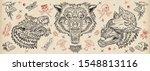 wolf head. old school tattoo... | Shutterstock .eps vector #1548813116