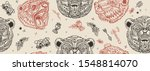 bear head  vintage seamless... | Shutterstock .eps vector #1548814070