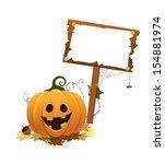 pumpkin holding blank sign   Shutterstock .eps vector #154881974