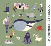 set of various animals | Shutterstock .eps vector #154882100