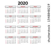calendar 2020 template. year... | Shutterstock .eps vector #1548848219