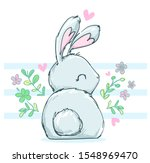 cute drawing bunny sitting on a ... | Shutterstock .eps vector #1548969470