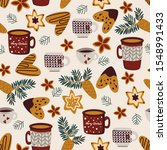 winter seamless pattern with... | Shutterstock .eps vector #1548991433