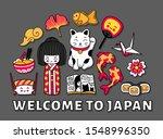 Travel To Japan. Cute Cartoon...