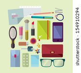 inside woman's bag  | Shutterstock .eps vector #154910294