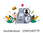 atm cyber crime concept  robber ...