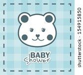baby shower design over blue... | Shutterstock .eps vector #154915850