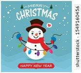 vintage christmas poster design ... | Shutterstock .eps vector #1549160456