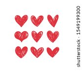 doodle hearts  hand drawn love... | Shutterstock .eps vector #1549199300