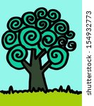 tree art design in jaidee... | Shutterstock .eps vector #154932773