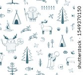 vector funny pattern with... | Shutterstock .eps vector #1549370150