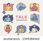 people in talking bubble frames ... | Shutterstock .eps vector #1549384463