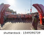 Small photo of ISTANBUL, TURKEY - NOVEMBER 3, 2019: Runners started to run from the start point at the 41th Vodofone Euroasia annual Bridge Marathon