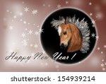 horse on christmas card. ... | Shutterstock . vector #154939214