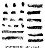 grungy brush strokes set | Shutterstock .eps vector #15494116