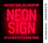 neon sign alphabet font. red... | Shutterstock .eps vector #1549439270