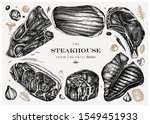 raw beef steaks vector... | Shutterstock .eps vector #1549451933