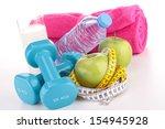 fitness equipment  diet food   Shutterstock . vector #154945928