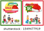 pair of christmas sale cards... | Shutterstock . vector #1549477919