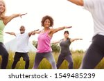 Small photo of Female Teacher Leading Group Of Mature Men And Women In Class At Outdoor Yoga Retreat