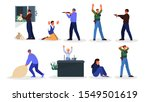 Set Of Vector Illustration Of...