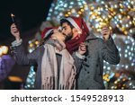 young loving couple burning...   Shutterstock . vector #1549528913