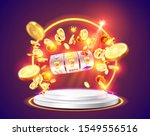 golden slot machine wins the... | Shutterstock .eps vector #1549556516
